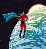 Superheld über Erde Stockbild