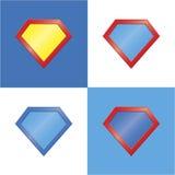 Superheld-Ausweissatz des Superheldlogoschablonenfreien raumes Lizenzfreies Stockbild