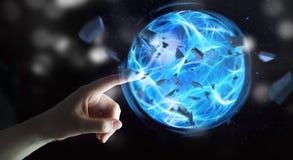 Superheld, der einen Energieball mit seiner Hand herstellt Stockfotografie