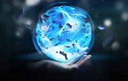 Superheld, der einen Energieball mit seiner Hand herstellt Lizenzfreies Stockbild