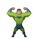 Superheld in der grünen Klage Stockbild
