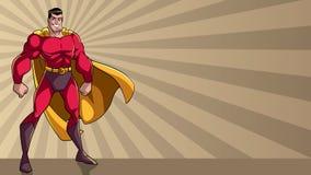 Superheld, der großes Ray Light Background steht Stockbilder