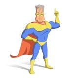 Superheld in der Maske, der Zeigefinger oben Lizenzfreies Stockfoto