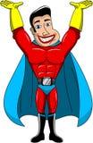Superheld, der Palmen-Hände oben lokalisiert hält stock abbildung