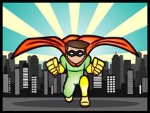 Superheld in der Stadt Stockbild