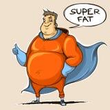 Superheld des dicken Mannes gefärbt Laptop- und Blinkenleuchte Stockbild