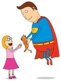 Superheld-Einsparungs-Miezekatze Stockfotos