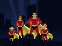 Superheld-Familien-Stadt-Vektor-Illustration Lizenzfreie Stockfotografie