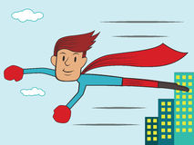 Superheld-Fliegen-Abflussrinne die Stadt-Gebäude-Karikatur Lizenzfreie Stockfotografie