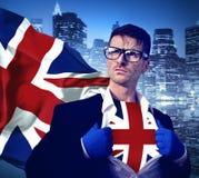 Superheld-Geschäftsmann UK Cityscape Concept Stockfoto