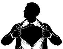 Superheld-Geschäftsmann-zerreißendes Hemd, das Kasten zeigt stock abbildung