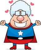 Superheld-Großmutter-Umarmung Stockbild