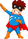 Superheld-Jungenkarikatur Lizenzfreie Stockfotografie