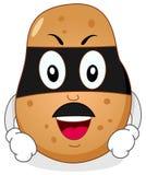 Superheld-Kartoffel mit Maske u. dem Schnurrbart Stockfotografie