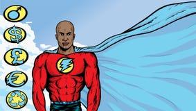 Superheld mit flüssigem Umhang Stockbild