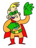 Superheld mit grünen Handschuhen Stockfotos