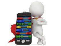 Superheld nahe Smartphone mit Abakus Lizenzfreie Stockfotos