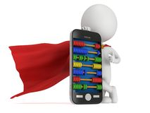 Superheld nahe Smartphone mit Abakus Stockfotografie