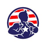 Superheld-Patriotmann, der sein Hemd öffnet vektor abbildung