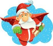 Superheld Santa Claus Bringing Presents im Winterurlaub lizenzfreie abbildung
