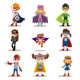 Superheld scherzt Jungen- und Mädchenkarikaturvektor Lizenzfreies Stockbild