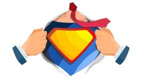 Superheld-Zeichen-Vektor Superheld-offenes Hemd mit Schild-Ausweis Platz für Text Lokalisierte flache Karikatur-komische Illustra lizenzfreie abbildung