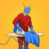 Superheldeisenumhang-Comic-Buch-Vektor Stockfoto