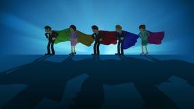 Superhelden, die im Scheinwerfer stehen Gesch?ftsteam-Siegersymbol Teamwork- und Erfolgskonzept Komische Schleifenanimation stock abbildung