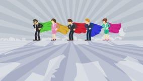 Superhelden, die im Scheinwerfer stehen Gesch?ftsteam-Siegersymbol Teamwork- und Erfolgskonzept Komische Schleifenanimation vektor abbildung