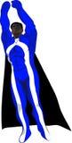 Superheldfliegen mit blauem Kostüm und Kap Stockfotos