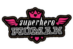 Superheldfrau Druck für T-Shirt mit Beschriftung patch lizenzfreie abbildung