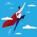 Superheldgeschäftsmannfliegen im Himmel Lizenzfreies Stockfoto