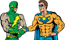 Superheldhändedruck Lizenzfreies Stockbild
