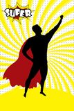 Superheldschattenbild und -text SUPER in Retro- komischem Pop-Art styl lizenzfreie abbildung