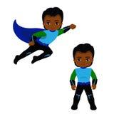 Superhero αγοριών κατά την πτήση και στη μόνιμη θέση Στοκ Φωτογραφία