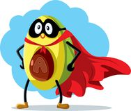 Superhero διανυσματικά κινούμενα σχέδια τροφίμων αβοκάντο έξοχα ελεύθερη απεικόνιση δικαιώματος
