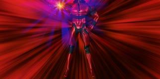 Superhero ισχυρή απεικόνιση επίδρασης περιόδου πετώντας Στοκ Εικόνα