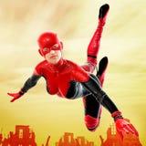 superhero οικογενειακής θηλυκό σειράς επέκτασης Στοκ εικόνα με δικαίωμα ελεύθερης χρήσης