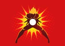 Superhero που δημιουργεί ένα ενεργειακό φύσημα μέσω των χεριών του απεικόνιση αποθεμάτων