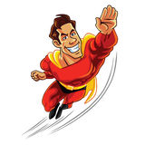 Superhero που πετά με το σώμα Muscly Στοκ Εικόνες