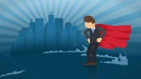 Superhero που στέκεται στο υπόβαθρο πόλεων Κοντά σε ένα σύννεφο του επιχειρησιακού συμβόλου σκόνης Έννοια ηγεσίας και επιτεύγματο απεικόνιση αποθεμάτων
