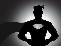 Superhero στη σκιαγραφία Στοκ φωτογραφία με δικαίωμα ελεύθερης χρήσης