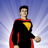 Superhero. An illustration of a superhero standing in victory Royalty Free Stock Images
