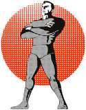 Superhero. Illustration of a superhero with halftone dots and isolated on white background Royalty Free Stock Image