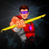 Superhero in abstract low poly polygon style Royalty Free Stock Image