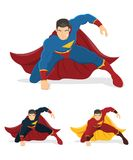 Superhero over white background. Superhero in action. Below are 2 additional versions. No gradients used Royalty Free Stock Photo
