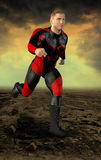 Superhero Action Figure Hero Illustration. Illustration of a superhero in costume is running to the aid of the helpless and ready to fight evil. The man is Stock Photos