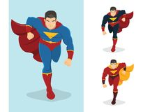 Superhero running forward. Superhero in action. Ready to fight. On the right are 2 additional versions Royalty Free Stock Image