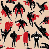 Superhero in Action Seamless Pattern. Seamless pattern with cartoon superhero in 14 different action poses Royalty Free Stock Photo