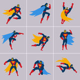 Superhero in Action. Silhouette Different Poses Royalty Free Stock Image
